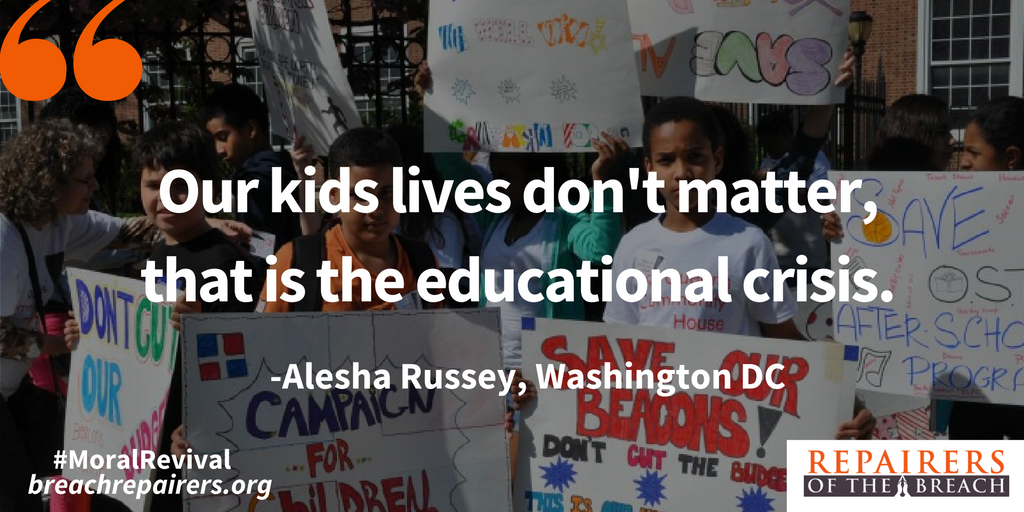DC teacher Alesha Russey calls us to revive our educational system. #moralrevival https://t.co/f6J79oAt14