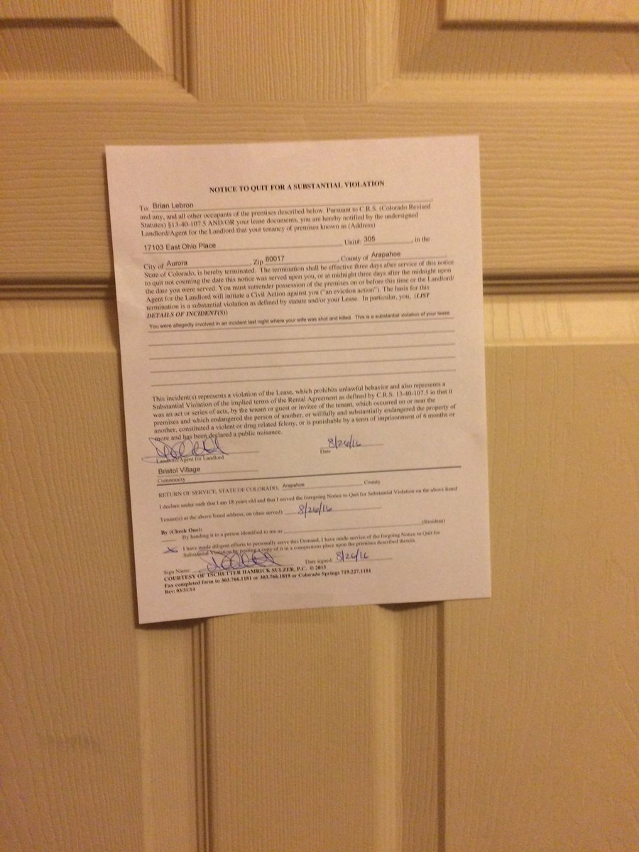NOW: Notice of lease termination posted on door of Buckley airman accused of shooting and killing his wife