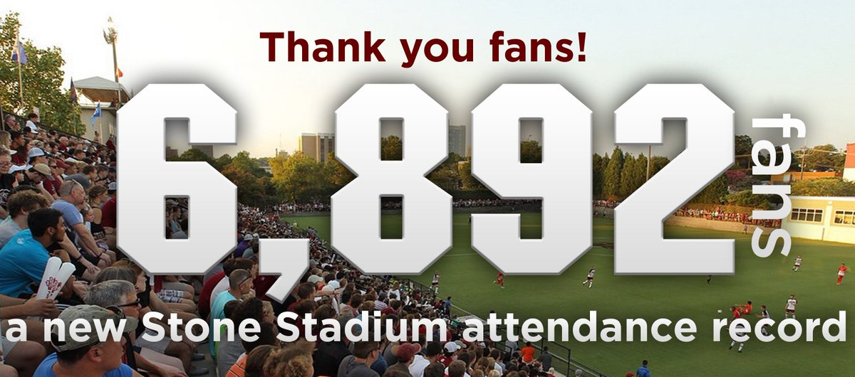 Amazing turnout tonight! You have helped us set a new Stone Stadium attendance record! Thank you fans! #Gamecocks https://t.co/X4lSCZcOl8