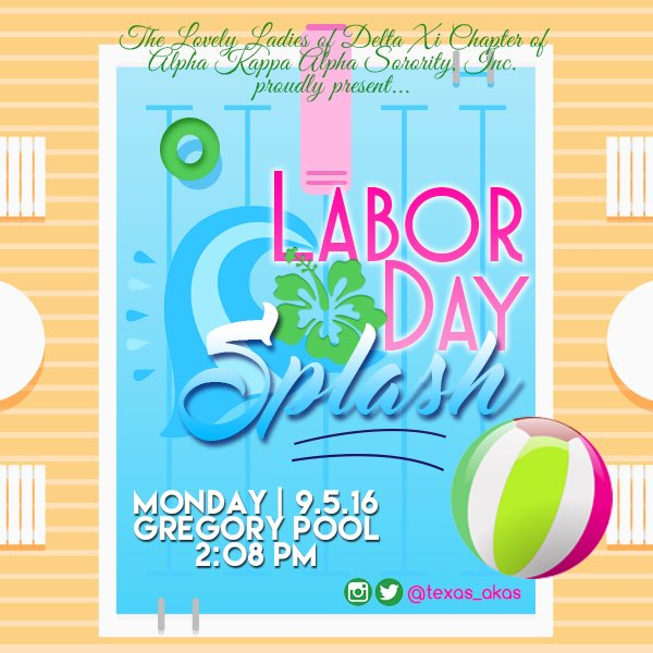 Labor Day Splash is on Sept 5! Bring ya swimsuits and school supplies to donate! Come eat, dance, and enjoy!