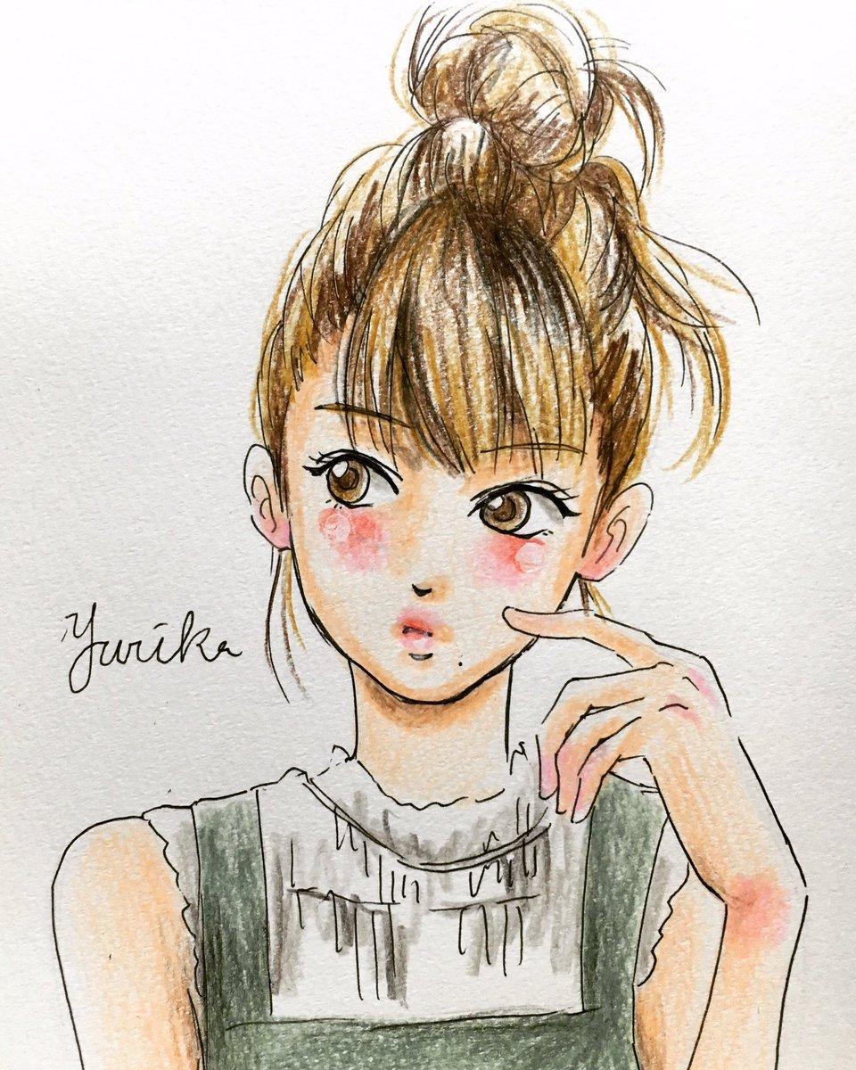 ユリカ 女の子ヘアスタイルイラスト Instagram ヘアスタイル 女の子 イラスト 色鉛筆
