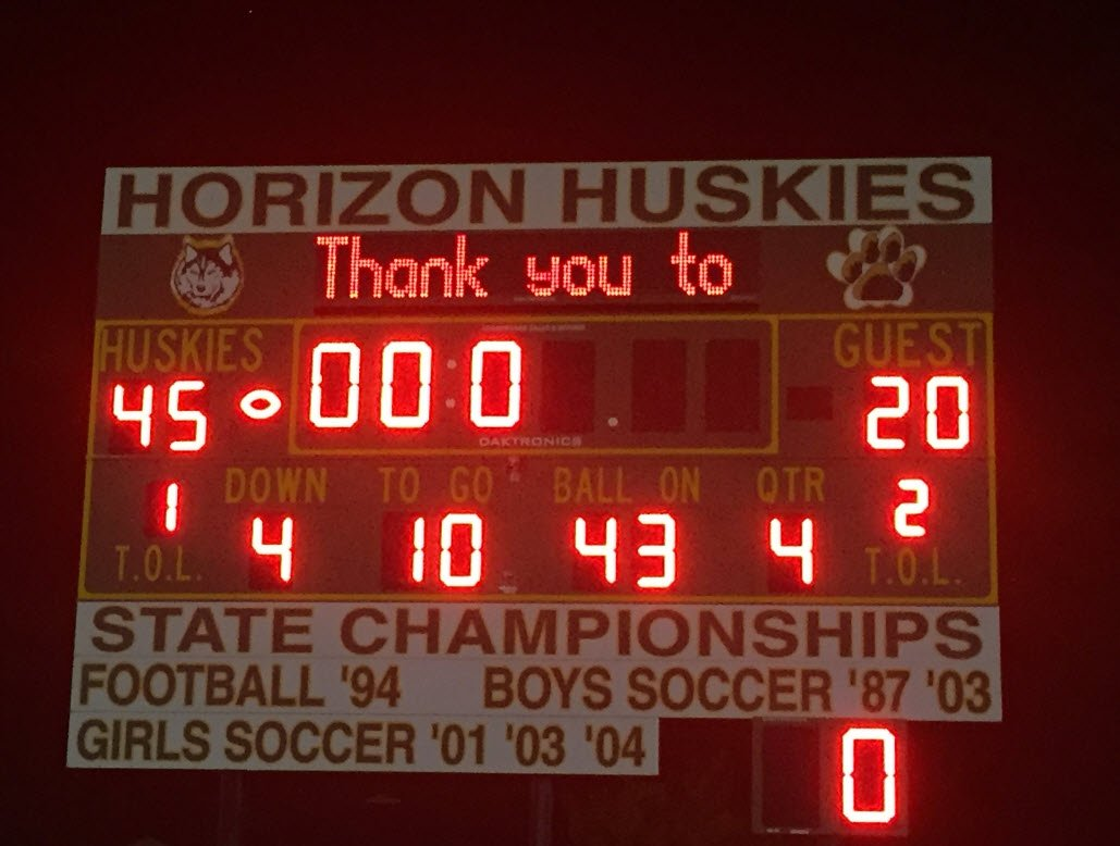 Excitement at Friday night lights! @HorizonFootball pulls off a big win against rival Chaparral 45-20 @hzfbfamily