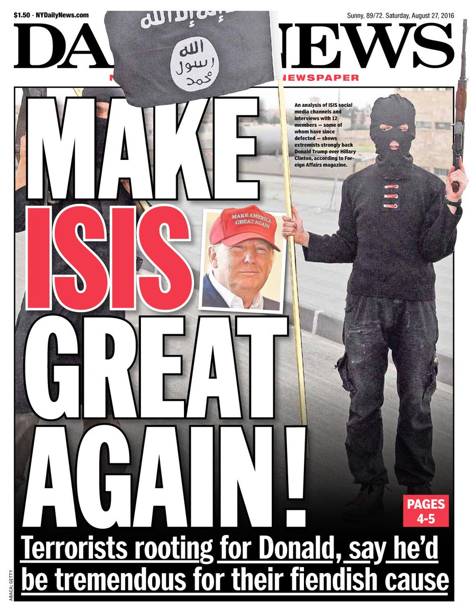 An early look at tomorrow's front page...MAKE ISIS GREAT AGAIN Terrorists hope Trump wins