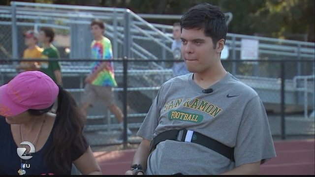 Paralyzed teen, Jake Javier, makes emotional return for football game in Danville