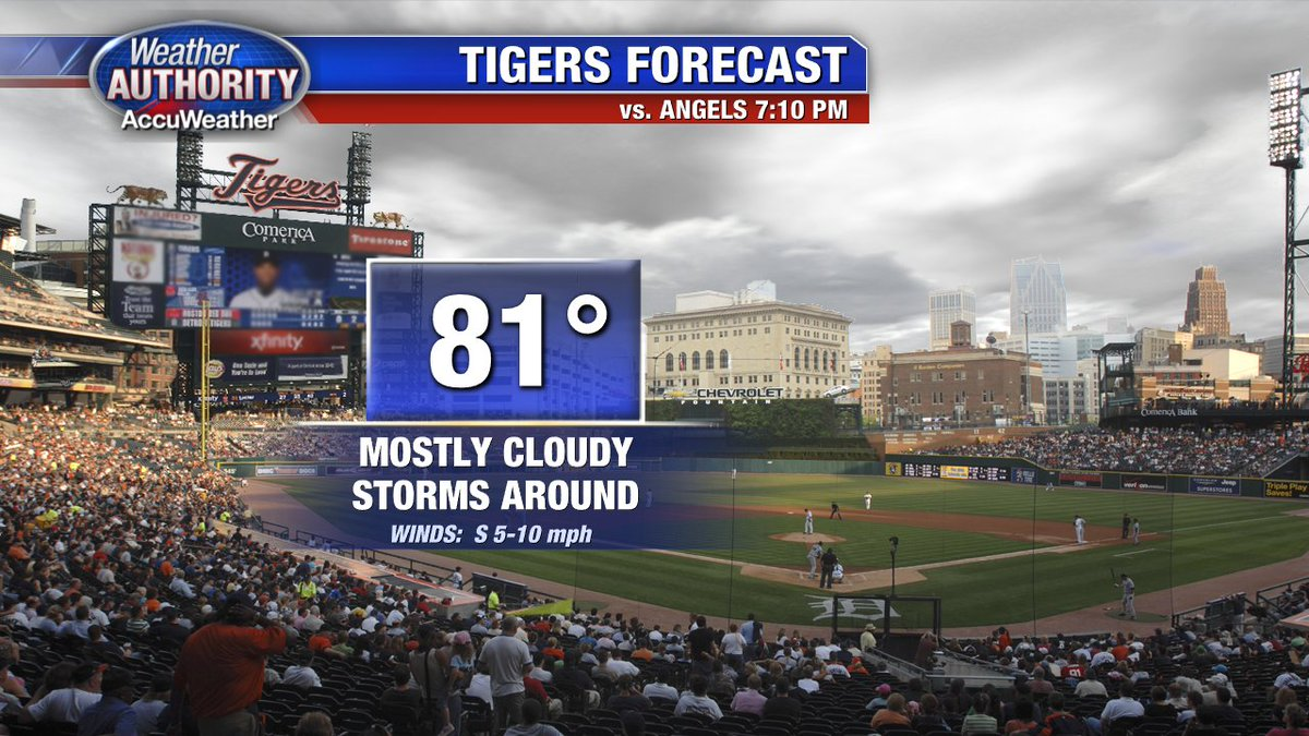 Take an umbrella if you're headed to Comerica Saturday night. Storms could be in the area! Go Tigers! @FOX2News
