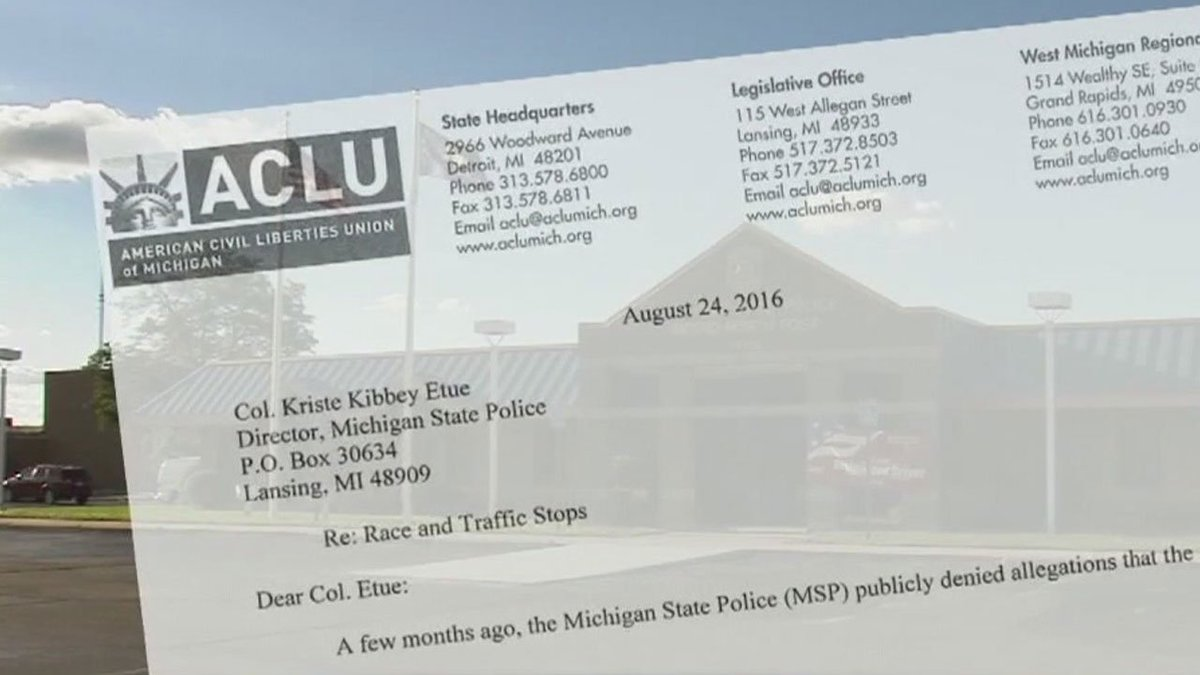 Quota system of Michigan State Police questioned by ACLU reports @RandyWFOX2