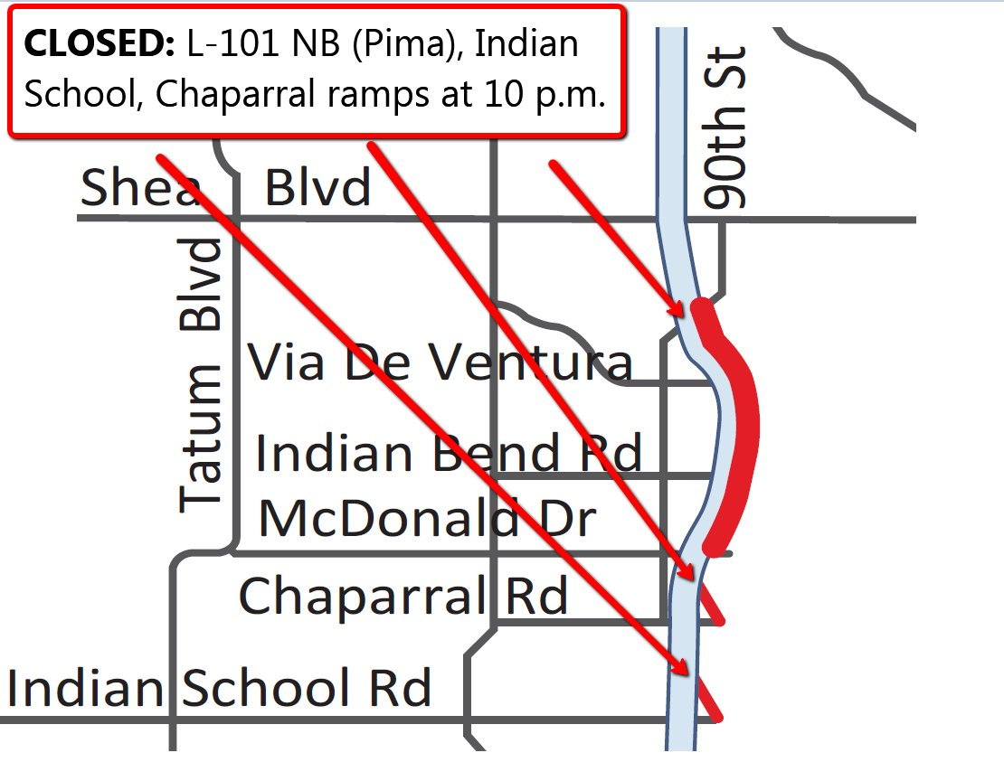 REMINDER: L-101 NB (Pima) closes along with Chaparral and McDonald on-ramps at 10 p.m. PhxTraffic