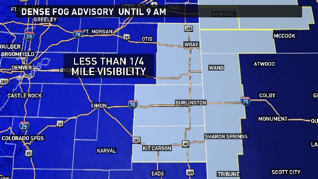 Dense fog has developed on the plains. Visibility will be low until mid-morning. @9News 9wx