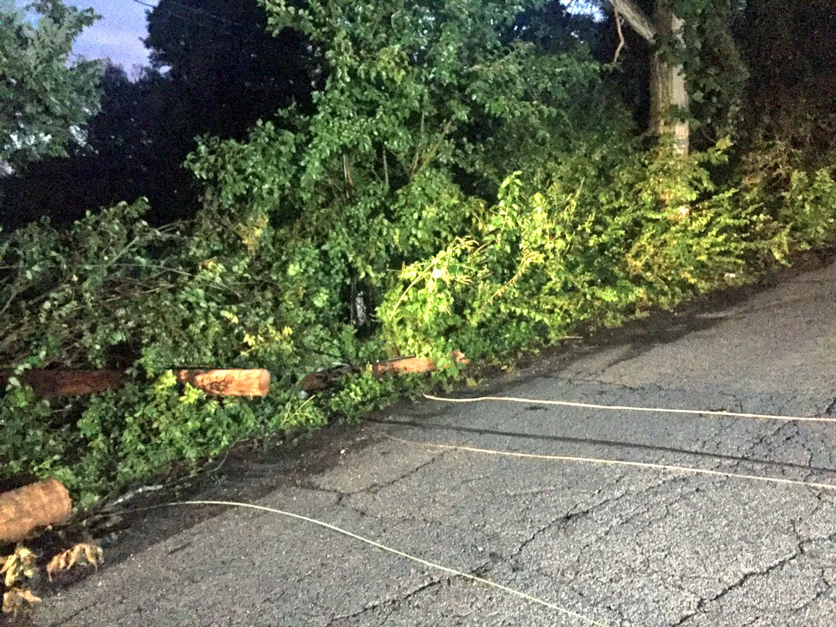 Many still without power this morning -- we found this down utility pole on Vera Dr. on the NE side. Be careful!