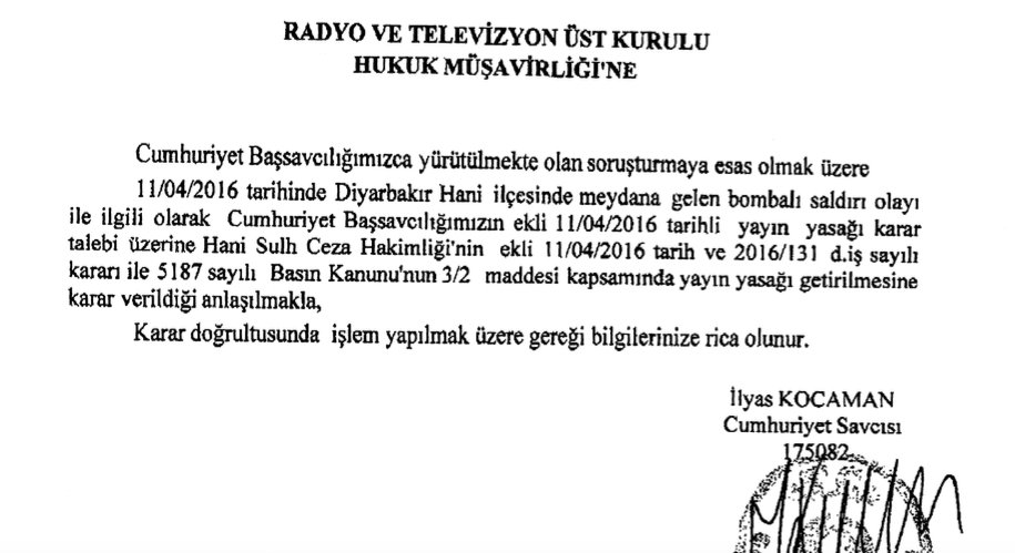 23) Gag order on the same day from criminal court of peace judge imposing ban on media coverage of #PKK attack. https://t.co/umcW0LBV7W