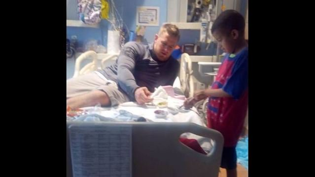 JJ Watt's biggest fan gets a big surprise