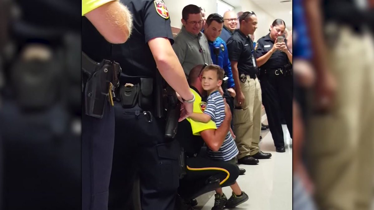 Texas police escort fallen officer's son on first day of school abc13
