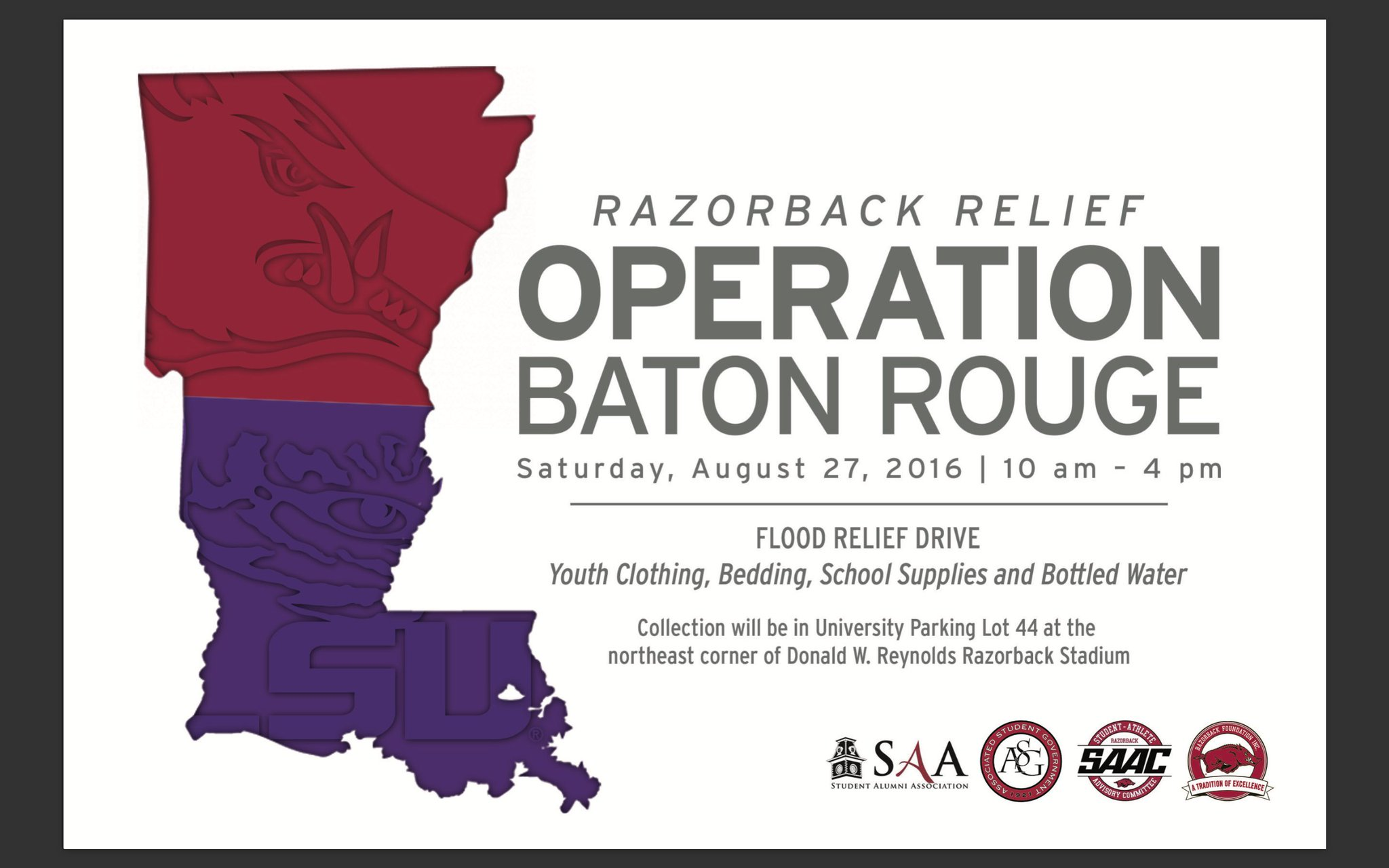 TODAY volunteers will be collecting donations for the victims of the Baton Rouge floods #RazorbackRelief https://t.co/jVg5nATzEh