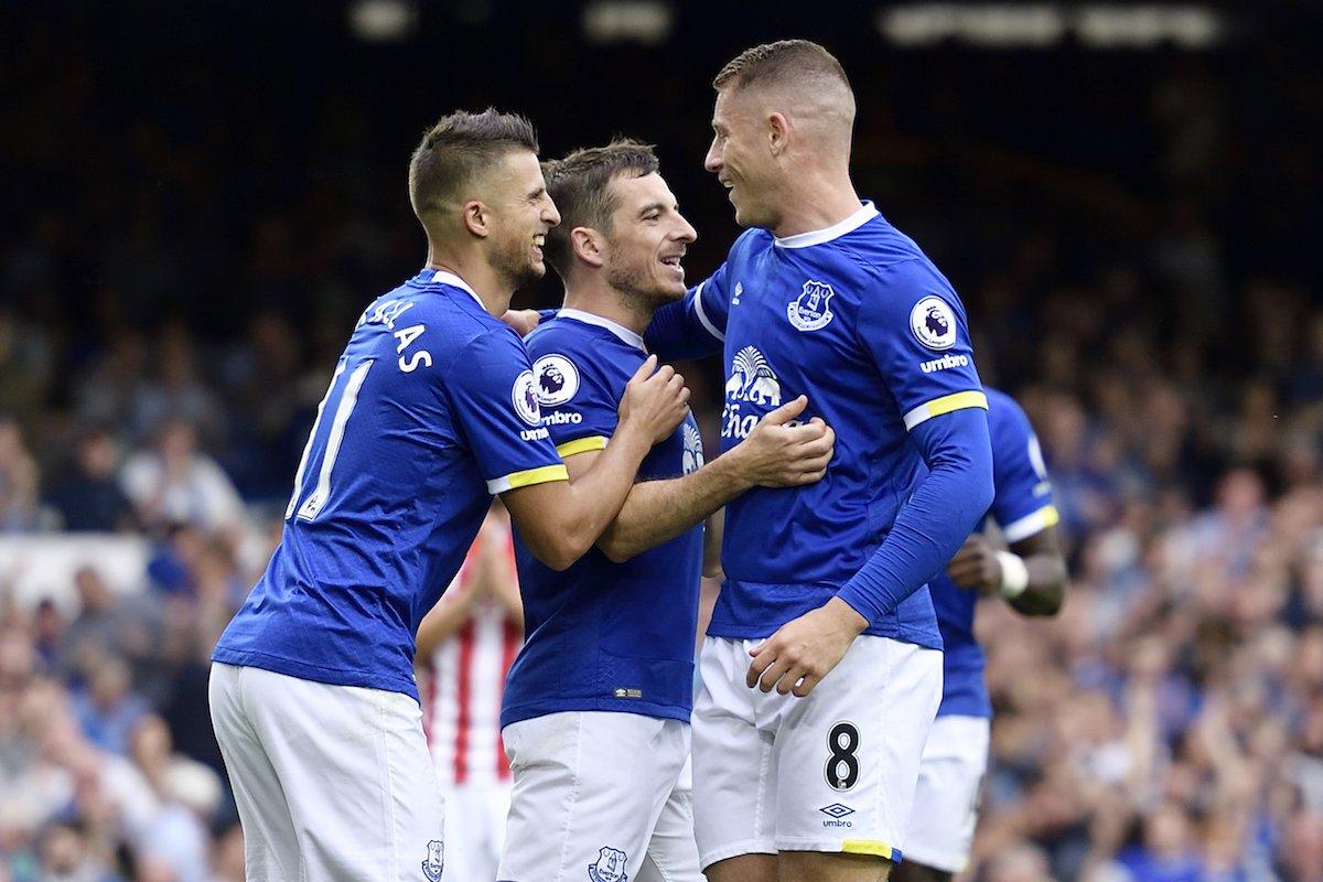 Everton players rejoice. Photo: Everton Twitter