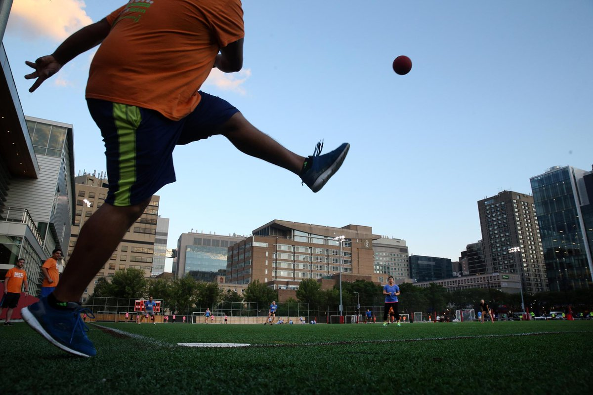 Even in late summer, there's still time for a round of kickball