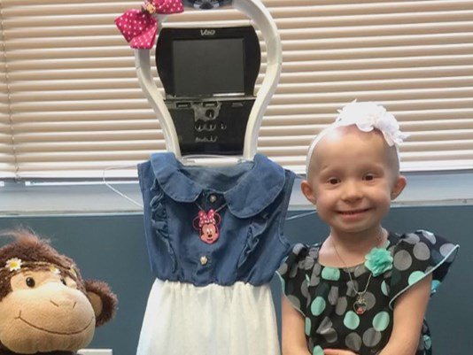 Robot stands in for 5-year-old cancer patient at school