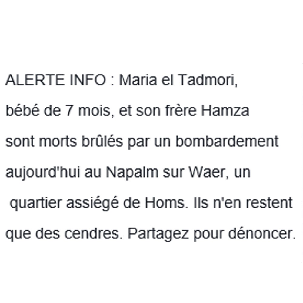 Retweeted Syria Charity (@SyriaCharity):  #ALERTEINFO <br>http://pic.twitter.com/OHXXoAtgbQ  http:// fb.me/NvmljYT4  &nbsp;