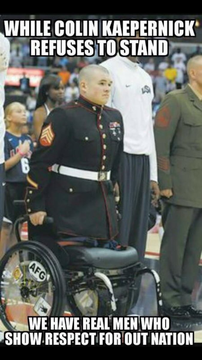 Hey @Kaepernick7 how about maybe standing and showing respect for this guy who lost his legs for your fkn freedom https://t.co/EsoPjlfckW