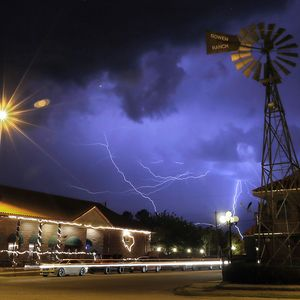 Check out this amazing shot of tonight's storm by Times photographer @LambieMark! Stay safe in the rain, El Paso.