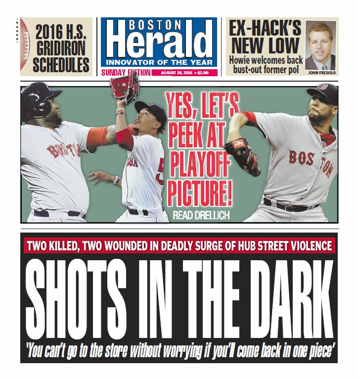Boston Herald front page August 28, 2016