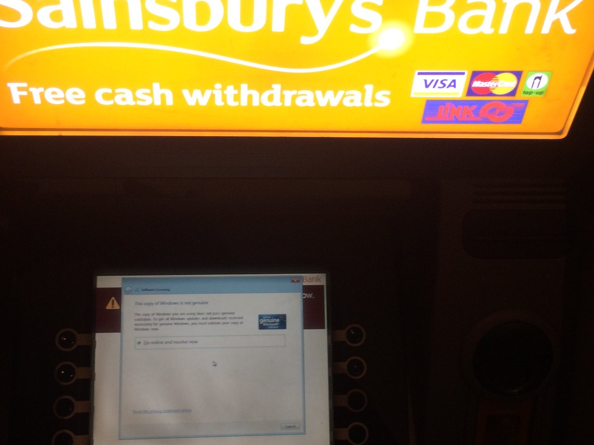 Oh dear @sainsburys Your cashpoint appears not to have a genuine version of Windows... https://t.co/C20E83ROF2