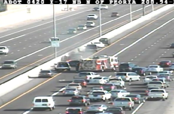 I-17 NB north of Peoria: HOV and left lanes blocked for a vehicle fire. PhxTraffic