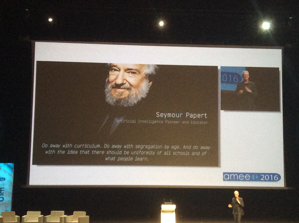 #amee2016 @GrahamBM referring to work of Seymour Papert who sadly dies just a few weeks ago https://t.co/b0Gqm4zPTA