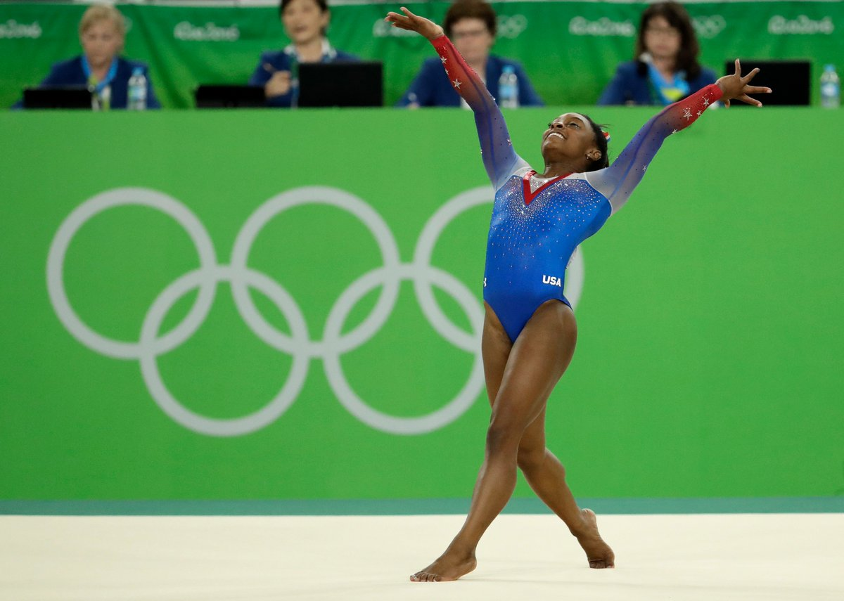 HISTORY.  Simone Biles becomes the first American woman to win 4 gymnastics golds at a single Olympics. https://t.co/TZB3WOpd1i