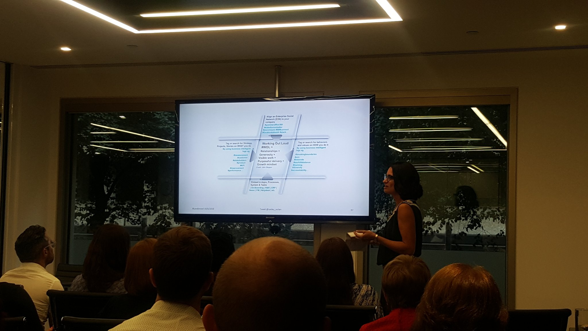 Now @Lesley_wolan explains proof of 'Working Out Loud' concept with a detailed giant hashtag #LondonWOL #WOL #ESN https://t.co/JCa5J4Dfe8