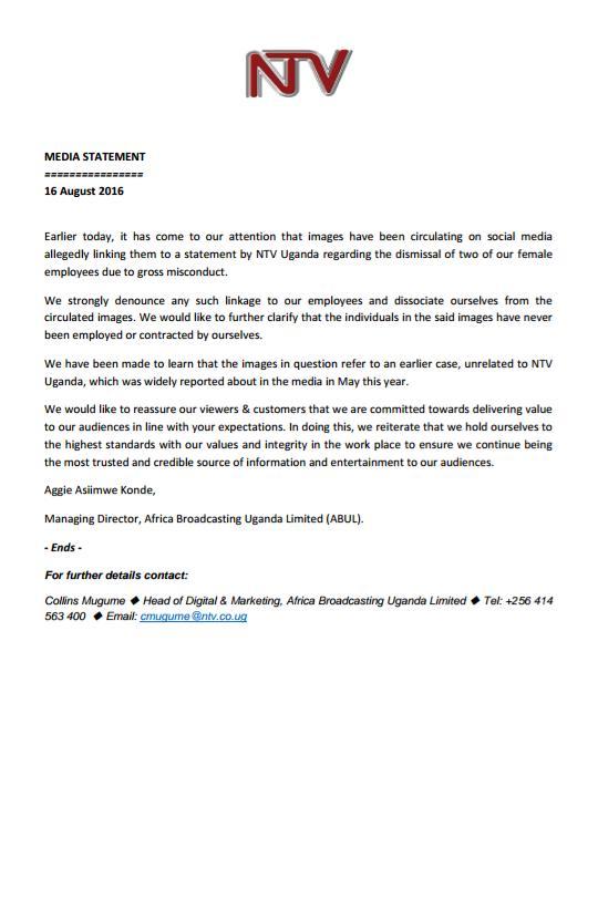 Ntv Uganda On Twitter Ntv Statement On Pictures Video Circulating