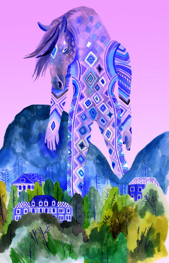 """Colossus Horse"" by Lisa Hanawalt   Print available at https://t.co/NsKTmEpyJv https://t.co/dIyCcy7rsC"