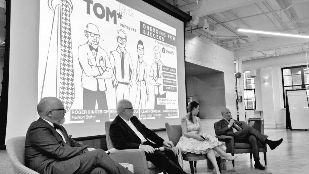 Special shout out to @RogerHGingerich for moderating @TOM_FW #TOMTalks tonight @Shopify #dressingforsuccess https://t.co/GCp4O7jNTR