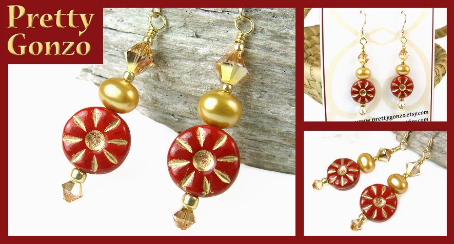 Sparkly #Red #Sun #Earrings w #Freshwater #Pearls & Crystals, #Boho #Jewelry by #PrettyGonzo https://t.co/J5TRRPgloM https://t.co/gaDalZKxyW