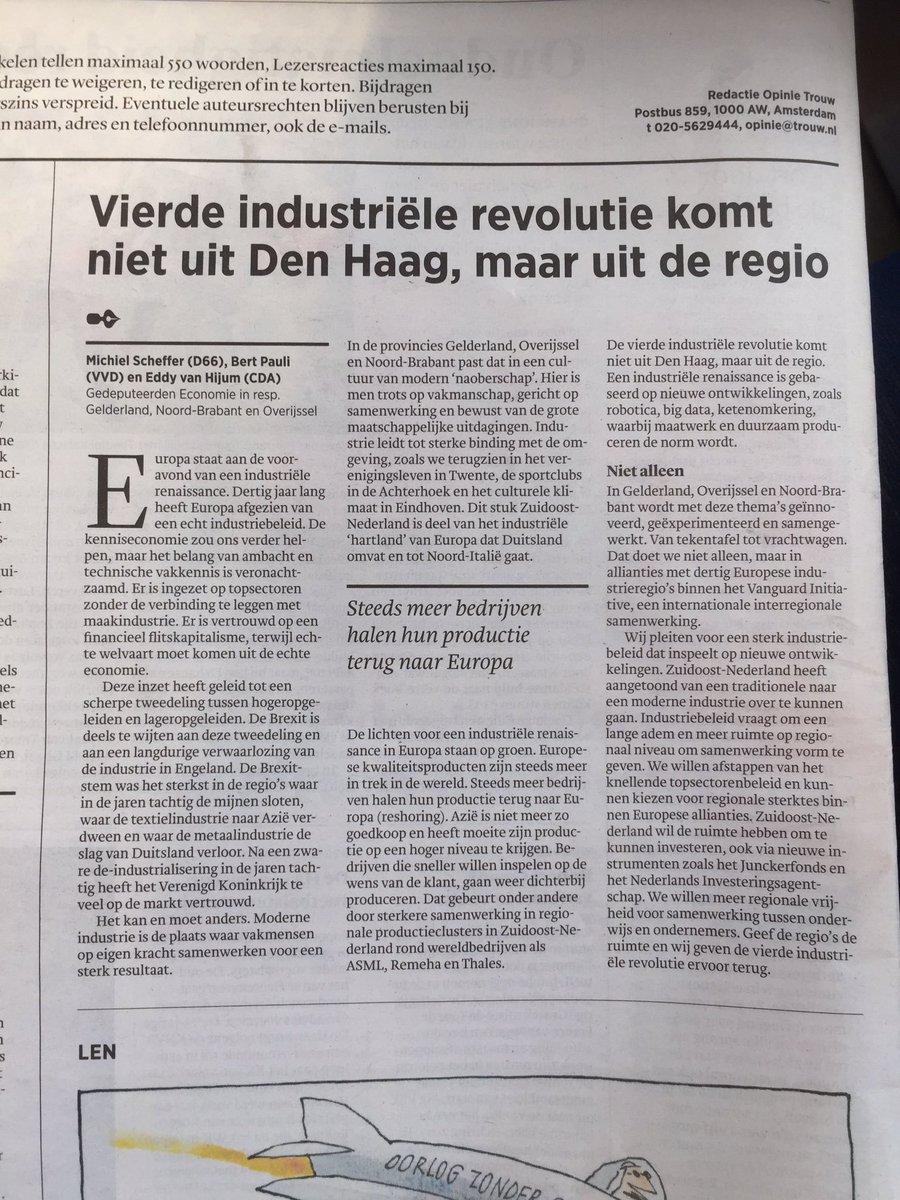 Vierde industriële revolutie komt uit regio, niet Den Haag. Opinie met @MichielScheffer en @BertPauli in #Trouw https://t.co/SDK1ov1bhE