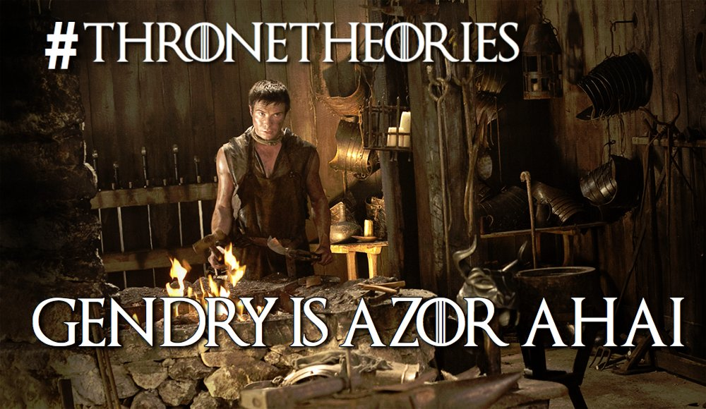 """Don't forget, I do #ThroneTheories on Thrusday. This week's is going to be mind blowing. """"Gendry is Azor Ahai."""" https://t.co/RQUdmuXxHp"""