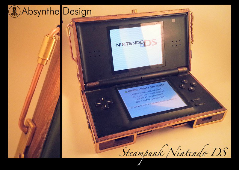 #Geek Awesome of the Day: #Steampunk #Nintendo #DS Wooden Case made by Absynthe Design v/ @steampunkjnkies #SamaGeek
