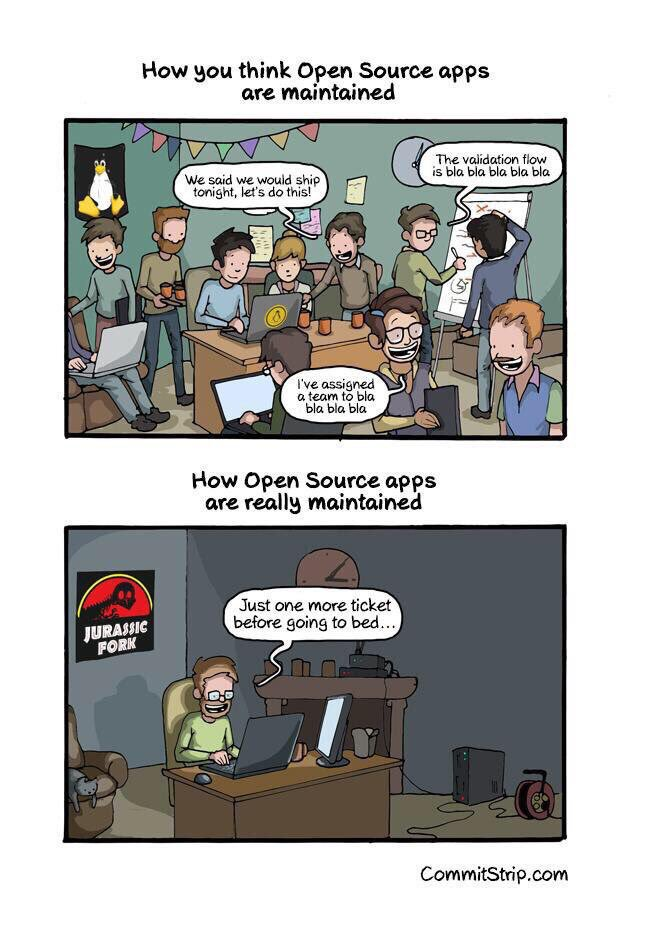 How the majority of Open Source Projects are really maintained #foss #DevOps #owasp #developers #security https://t.co/FvMAsWlkn9