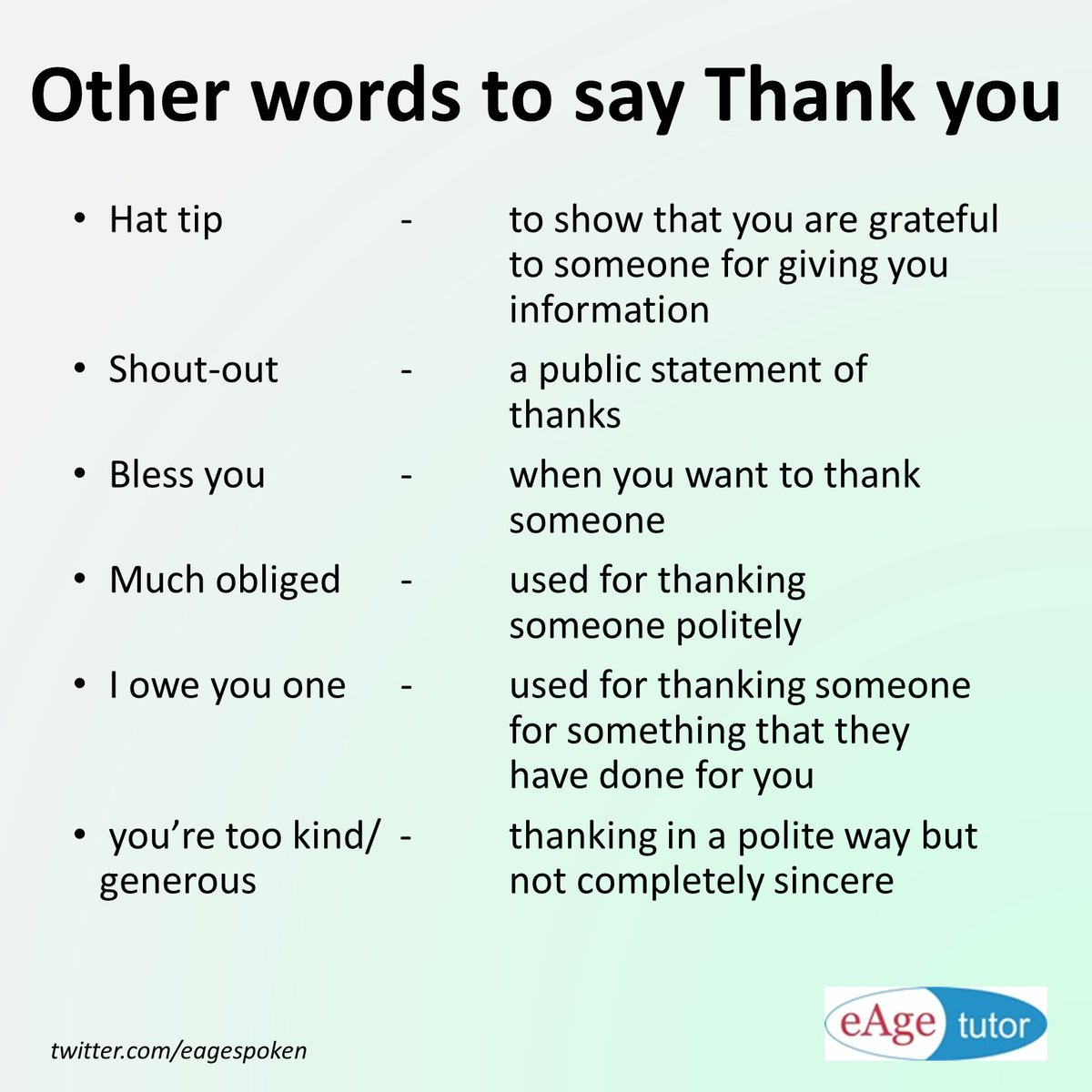 eage spoken english on twitter other words to say thank you