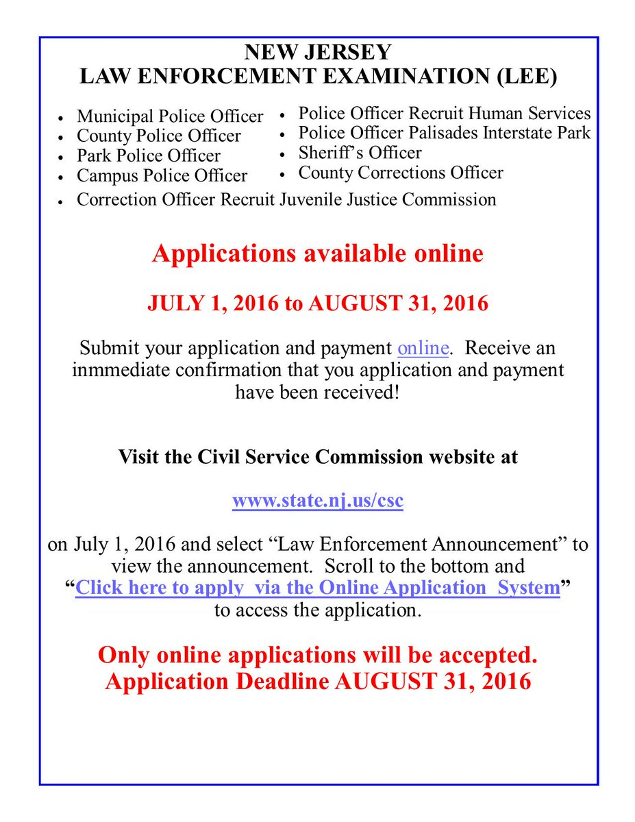 """Top Cop Inc. on Twitter: """"NJ Civil Service Police Exam app is deadline Aug  31! Our test prep class selling out fast! https://t.co/EqkZtYvumR… """""""