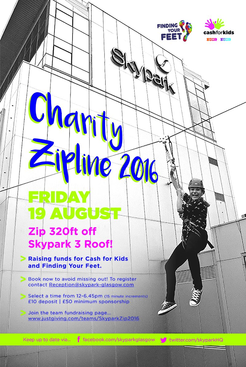 RT @skyparkHQ: .@nickymcdonald1 is zipping off @skyparkHQ on Friday for @clydecashforkid @FYF_Charity! Thanks for getting involved! https:/…