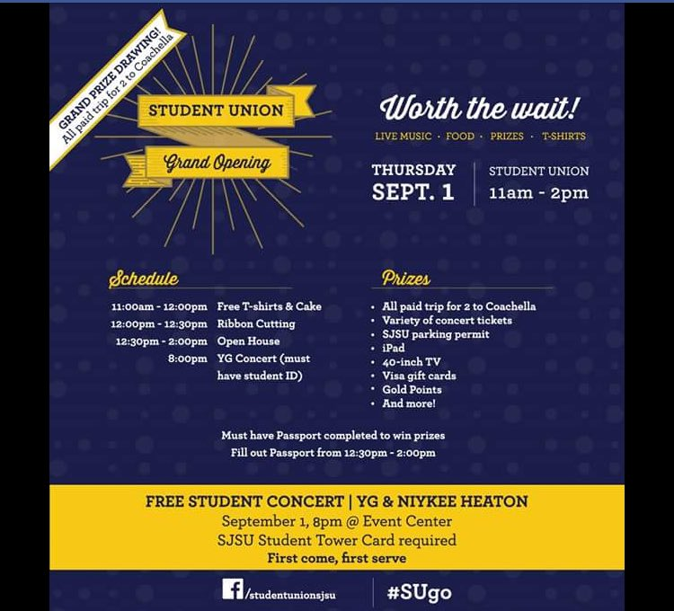 Free concert by @YG and @NiykeeHeaton for #SJSU students to celebrate new Student Union grand opening 9/1. #WowSJSU