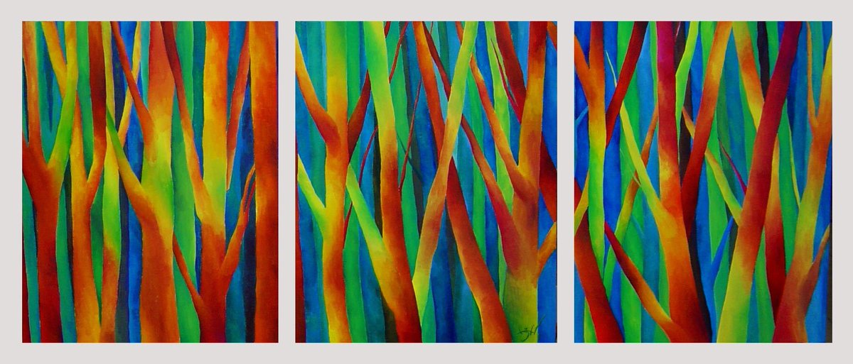 Lucia Borrallo ~ 'Music in the Night Forest'  (triptych, oil on canvas)  via @LuciaBorrallo #art #arte  #landscape