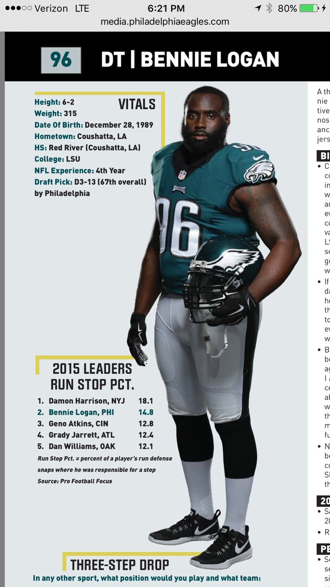"""Pro Football Focus on Twitter """" Eagles DT Bennie Logan recorded"""