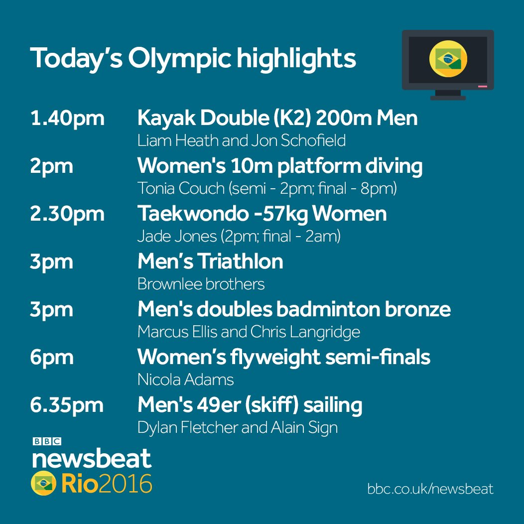 """bbc newsbeat on twitter: """"here's today's schedule at the #rio2016"""