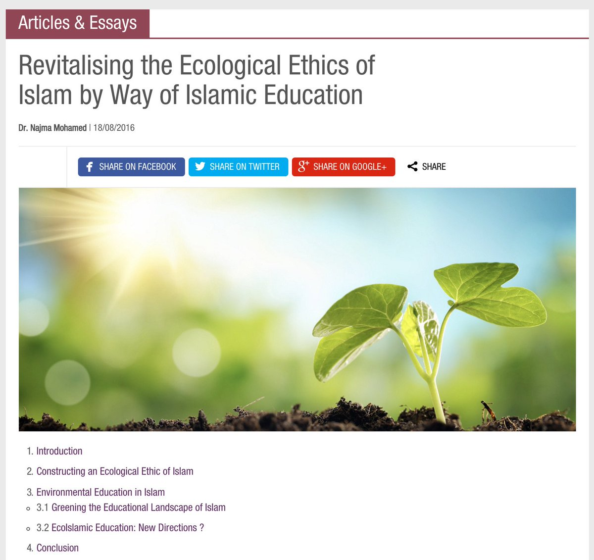 cile center on revitalising the ecological ethics of revitalising the ecological ethics of islam by way of islamic education dr najma mohamed