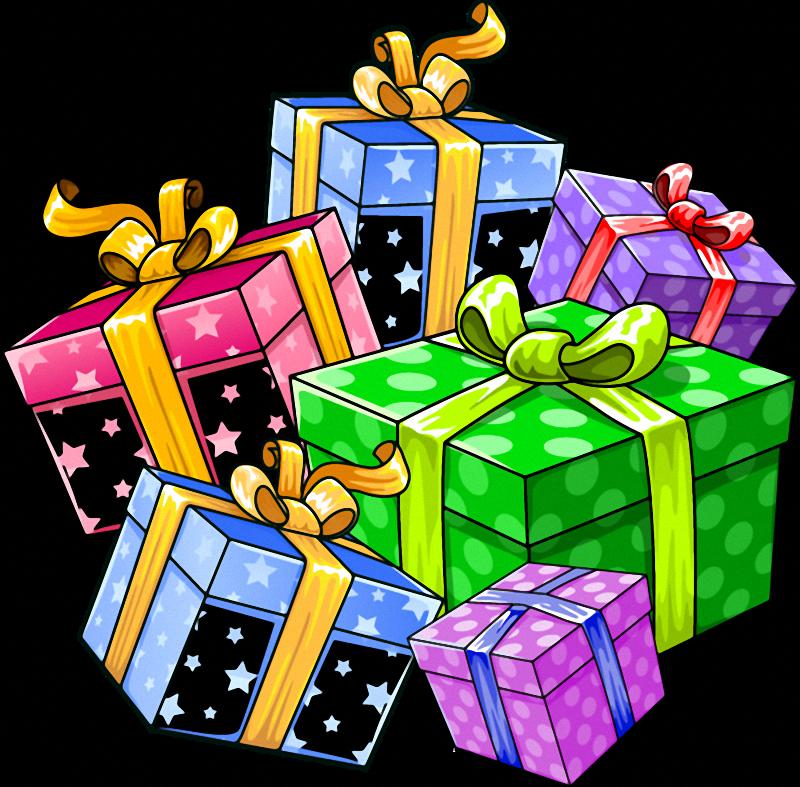 Открытка с подарками на день рождения