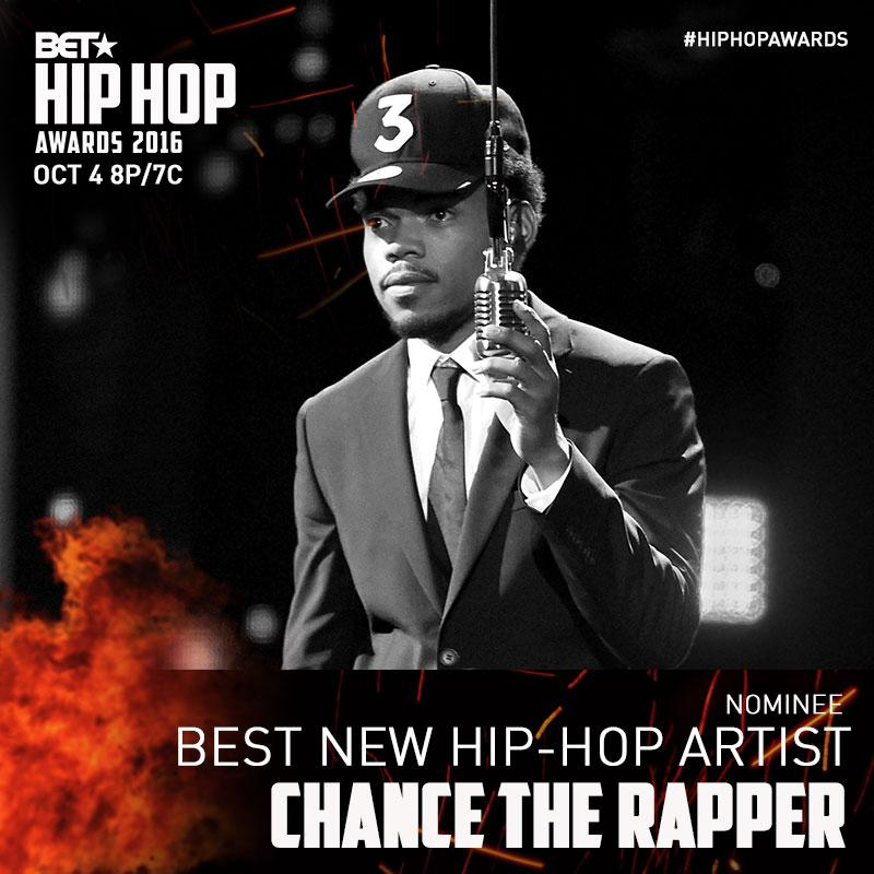 Salute to @chancetherapper on his nomination for BEST NEW HIP HOP ARTIST! #HipHopAwards https://t.co/02SnuC0uxJ