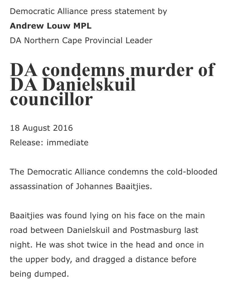 Condolences to the friends & family of DA Cllr, Johannes Baatjies, victim of a suspected political. assassination. https://t.co/l5L2YFt7s5