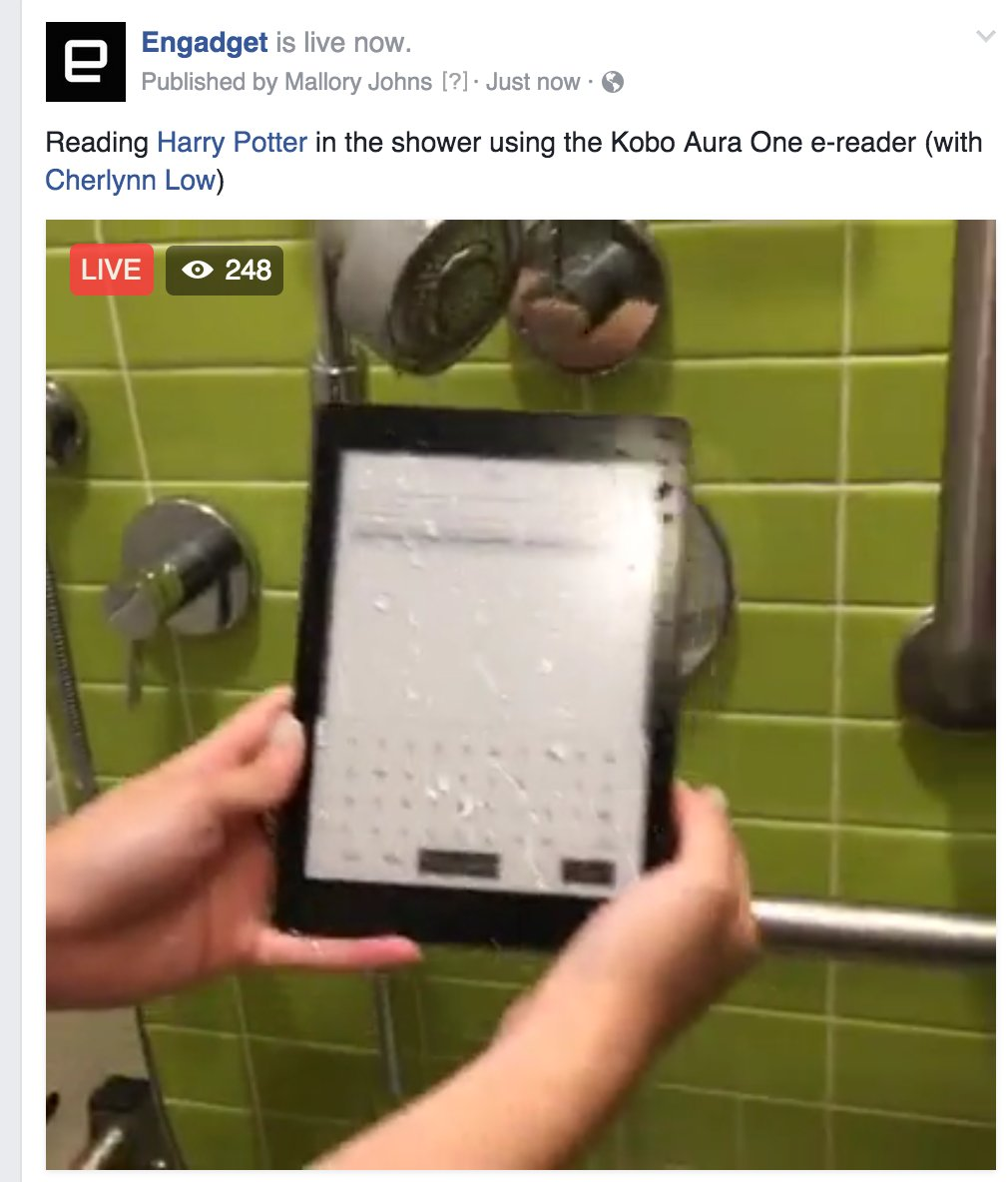 We're live in the shower testing out the new Kobo Aura One e-reader