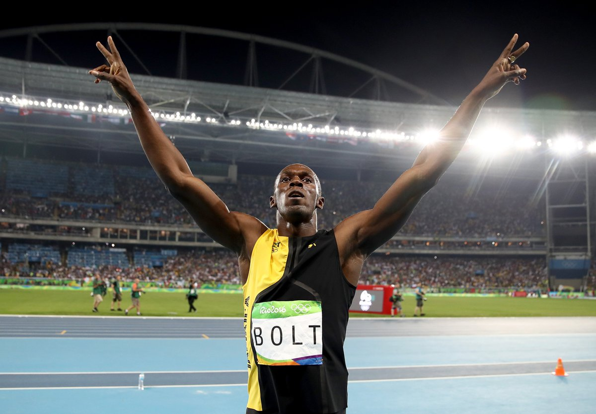 Usain Bolt wins 200m in 3 straight Olympics.  Usain Bolt wins 100m in 3 straight Olympics.  Usain Bolt is the GOAT.